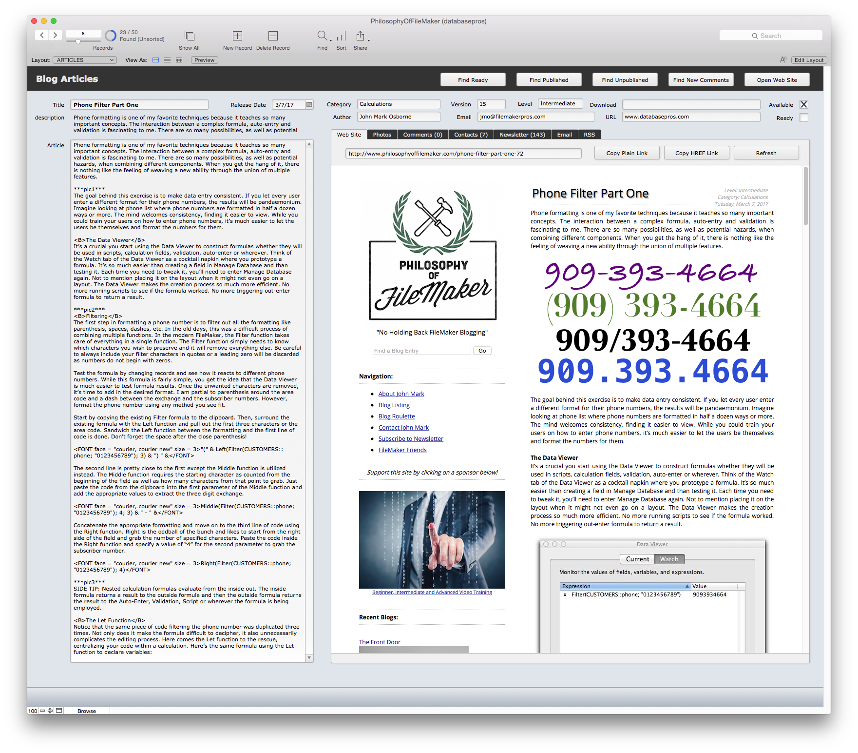 Article development is done directly in FileMaker with a text field and a
